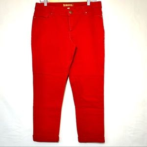 ELLEN TRACY   Rouge Red/Coral Skinny Crop Jeans